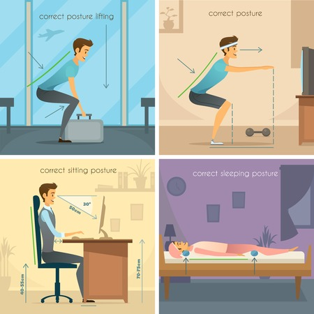 the concept is correct: Posture 2x2 design concept set of correct lifting squats sitting and sleeping poses flat vector illustration Illustration