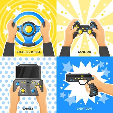 Game gadget 2x2 design concept with people hands holding steering, wheel light gun gamepad flat vector illustration Illustration