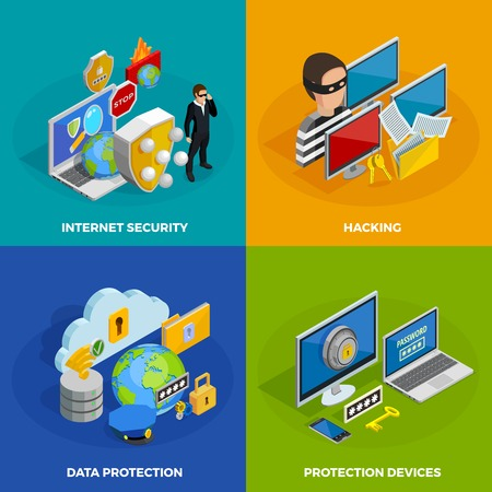 threat: Data protection concept icons set with hacking symbols isometric isolated vector illustration Illustration