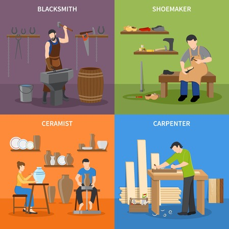 Colorful craftsman flat 2x2 icons set with blacksmith shoemaker ceramist and carpenter at work isolated vector illustration Illustration