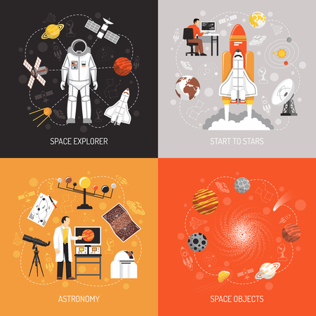 media icons: Astronomy 2x2 design concept with cosmonaut spacesuit space explorer elements and space objects images flat vector illustration