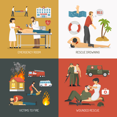 cpr: First air assistance for drowning and fire victims rescue on spot 4 flat icons square isolated vector illustration Illustration