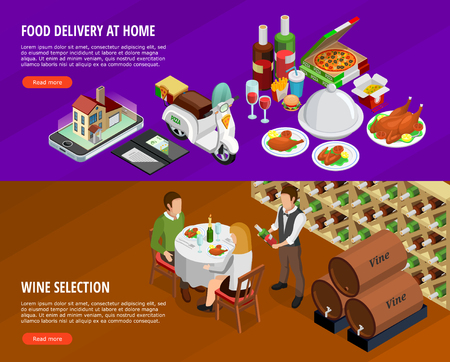 Restaurant and cafe isometric horizontal banners set with food delivery and wine selection symbols isolated vector illustration
