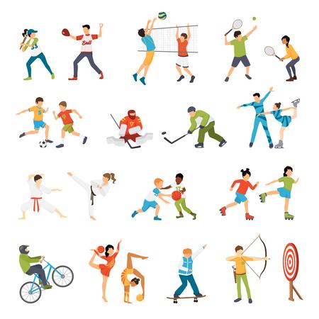 Flat iconen set van kinderen doen verschillende vormen van sport van voetbal tot geïsoleerde vector illustratie boogschieten Vector Illustratie