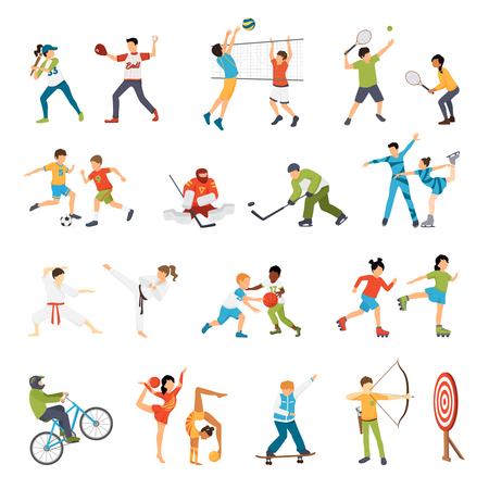 football play: Flat icons set of kids doing different types of sports from football to archery isolated vector illustration