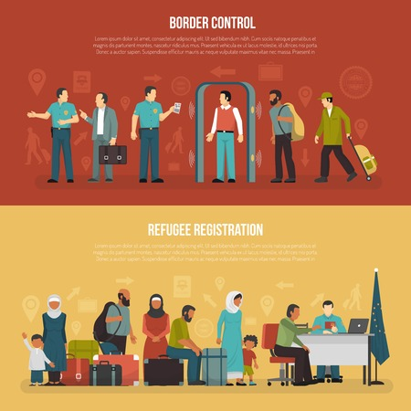 illegal immigrant: Immigration horizontal banners set of border control and refugee registration design compositions flat vector illustration