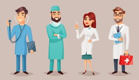 看護医療人医師看護師外科医歯科医ベクトル イラストとレトロな漫画ポスター セット