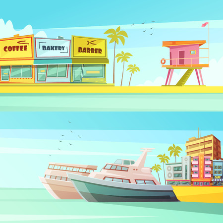 miami south beach: Miami beach horizontal banners in cartoon style with sandy shore seagulls yachts hotels  flat vector illustration