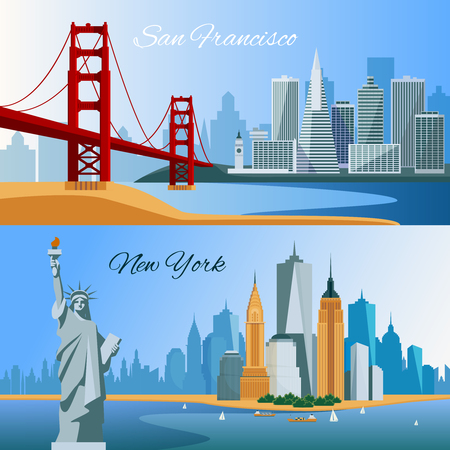 Usa horizontal flat banners with san francisco and new yourk cityscapes composition isolated vector illustration