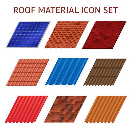 Beelden set van verschillende kleuren en vormen fragmenten van het dak geïsoleerd tegel vector illustratie