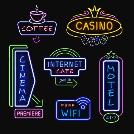 internet cafe: Neon hotel internet cafe cinema and casino signboards at night realistic icons collection isolated vector illustration