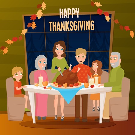 Big family at holiday dinner with turkey on table celebrating happy thanksgiving flat poster vector illustration