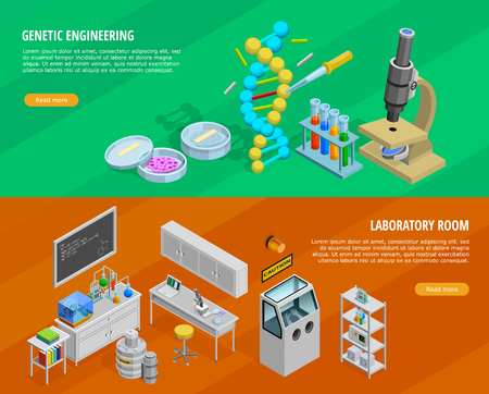 Science horizontal isometric banners set with genetic engineering symbols isolated vector illustration