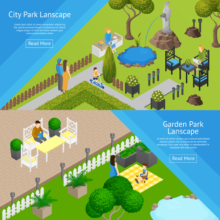 garden pond: Horizontal banners of public relaxation place city and garden parks landscapes isometric vector illustration