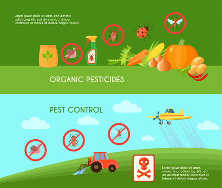 Pest control horizontal banners set with organic pesticides symbols flat isolated vector illustration  イラスト・ベクター素材