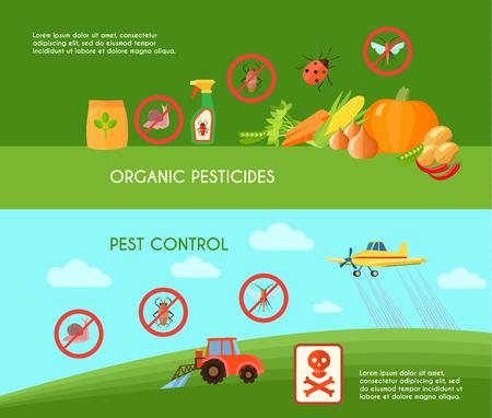 Pest control horizontal banners set with organic pesticides symbols flat isolated vector illustration Illustration