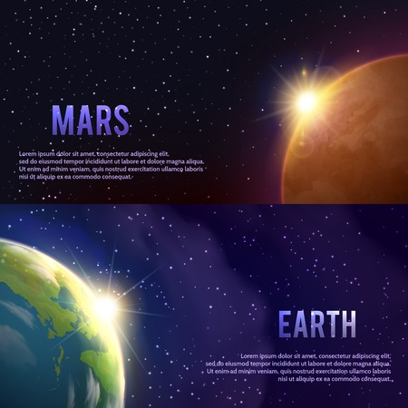 astronautics: Solar system horizontal realistic banners set with Mars and Earth isolated vector illustration