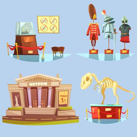 Museum mit einem Dollar-Ticket heute und historische Exponate auf Glasboden Retro Cartoon 2x2 flache Icons gesetzt