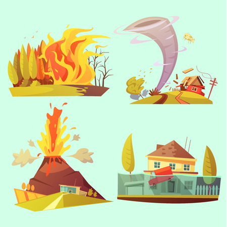 Natural disaster retro cartoon 2x2 icons set with fire flood volcanic eruption and tornado flat isolated vector illustration