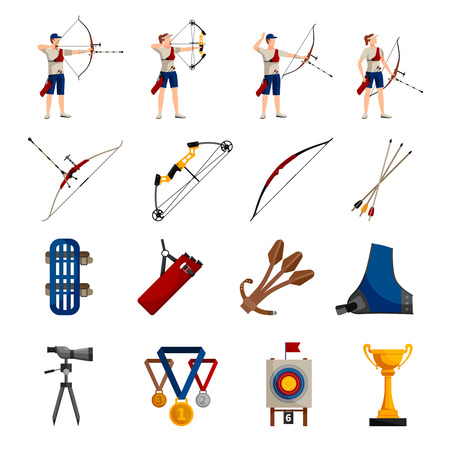 tiro al blanco: Flat design icons set with archery players different types of bows necessary equipment and rewards isolated on white background vector illustration