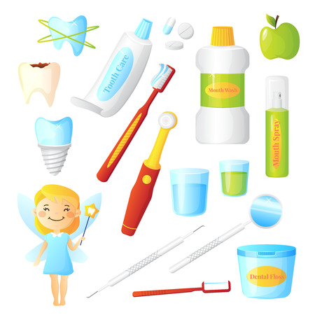 stomatology icon: Flat dentist set for dental care hygiene and healthy teeth with tooth fairy and equipment isolated on white background vector illustration Illustration