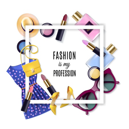 fashion clothing: Women fashion lay concept cartoon set with frame vector illustration Illustration