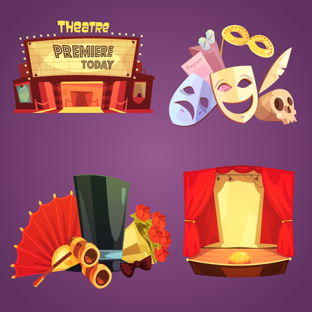 Theatre stage decorations and props retro cartoon 2x2 flat icons set isolated vector illustration 向量圖像