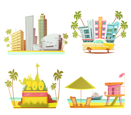 miami south beach: Miami 2x2 design concept with skyscrapers city zoo lifeguard cabin on beach cartoon compositions flat vector illustration