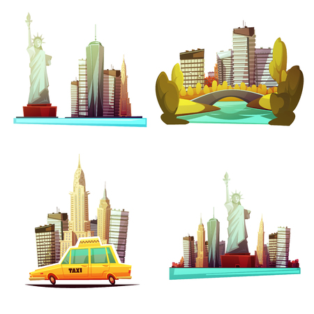 New york downtown 2x2 cartoon compositions with skylines statue of liberty yellow cab central park elements flat vector illustration