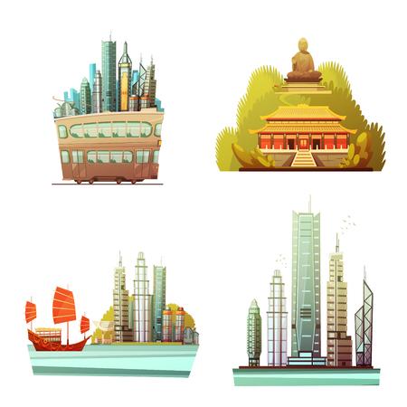 landscape architecture: Hong kong 2x2 design concept set of history landmarks modern urban architecture and sea landscape flat vector illustration
