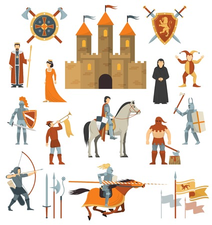 knightly: Medieval isolated decorative icons set of knightly castle crusader flags emblems knights on horseback with ancient weapon flat vector illustration