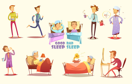 Different causes of good and bad sleep flat icons on light background retro cartoon isolated vector illustration. Illustration