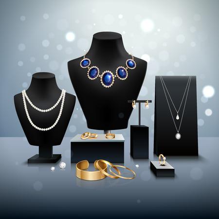 Realistische gouden en zilveren sieraden weergave op zwarte mannequins en staat op grijze oppervlakte en achtergrond met bokeh vector illustratie Stock Illustratie