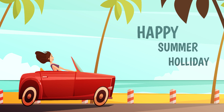 Summer holiday tropical island vacation vintage poster with girl driving retro red cabrio automobile cartoon vector illustration