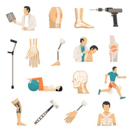 traumatology: Orthopedics and prosthetics medicine isolated icons with bones of vertebral column arm and foot prosthesis and medical hammer and drill vector illustration