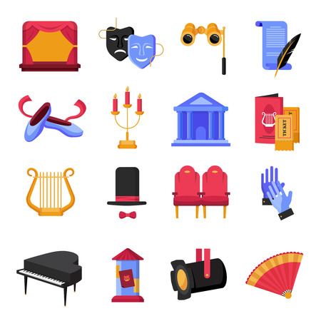 stage props: Colorful flat theatre icons set with musical instruments and props isolated on white backgroumd vector illustration