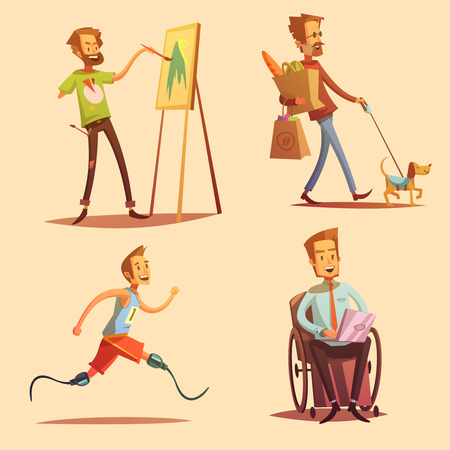 jogging: Disabled people leading happy life retro cartoon 2x2 flat icons set isolated vector illustration Illustration