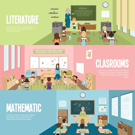 school: Horizontal banners with scenes in school classrooms on literature mathematics and elementary lessons vector illustration