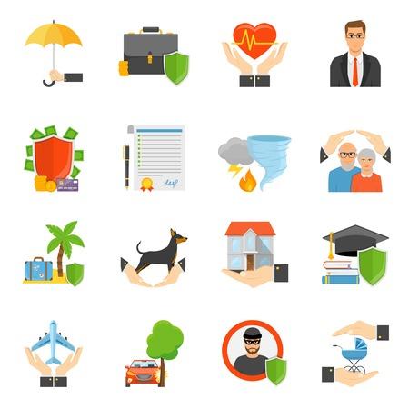 Les compagnies d'assurance proposent des icônes plates avec des affaires de santé de voyage et des catastrophes naturelles. Symboles de politique isolés.