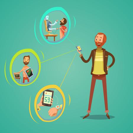 diagnostic: Mobile medicine concept with health examination symbols on green background cartoon vector illustration