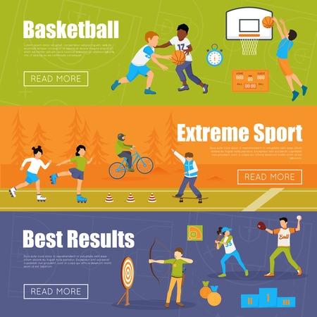 rulos: Banderas horizontales de niños jugando al baloncesto y al béisbol haciendo deporte extremo y tiro con arco para obtener mejores resultados ilustración vectorial Vectores