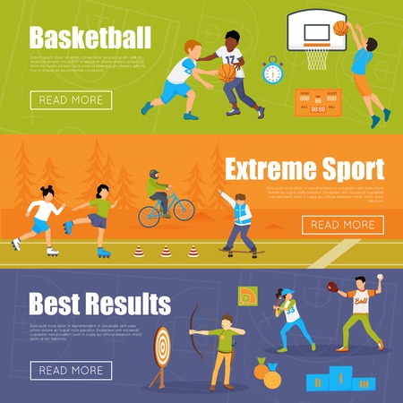 Horizontal banners of kids playing basketball and baseball doing extreme sport and archery for best results vector illustration