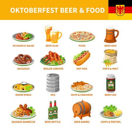 comida alemana: German annual oktoberfest traditional food snacks and beer flat icons collection with crayfish abstract isolated vector illustration Vectores