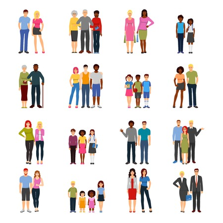 couple in summer: Buddies and friends together flat icons collection with adults colleagues teenagers and kids abstract isolated vector illustration