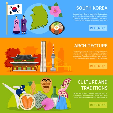 South korea culture traditions architecture and sightseeing for tourists 3 flat banners website design isolated vector illustration Vettoriali