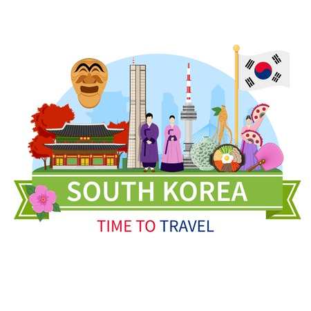 korea food: South korea national cultural symbols sightseeing places of interest for tourists flat composition advertisement poster vector illustration