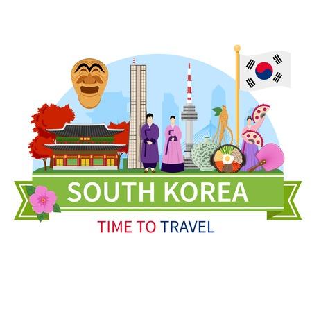 Zuid-Korea nationale culturele symbolen bezienswaardigheden interessante plaatsen voor toeristen platte samenstelling reclame poster vector illustratie