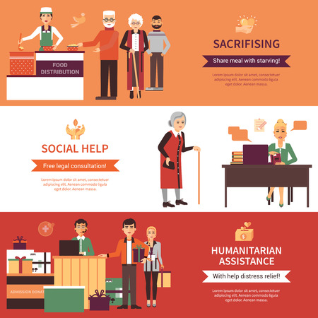 Volunteers people banners set of food distribution social help with legal consultations and humanitarian assistance compositions flat vector illustration