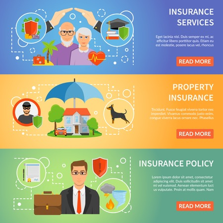 information  isolated: Insurance company services policy online information 3 flat horizontal banners set webpage design abstract isolated vector illustration