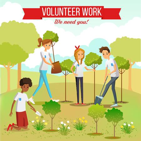 Het tuinieren en het planten van zaailingen in het park door vrijwilligersjongens en meisjes groeperen vlakke vectorillustratie